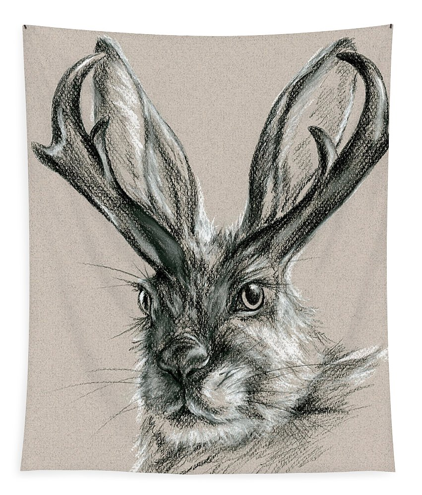 Mythical Creature Tapestry featuring the drawing The Mythical Jackalope by MM Anderson
