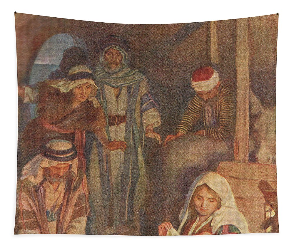 Bible Tapestry featuring the painting The Nativity by Harold Copping