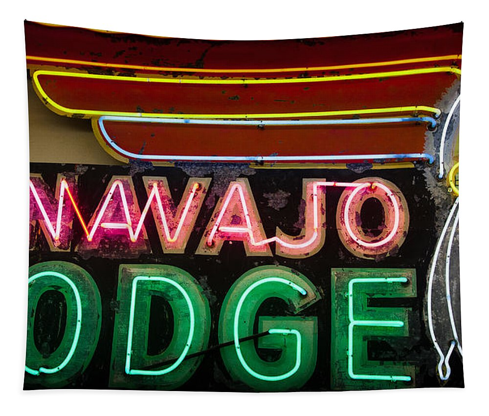 Old Signs Tapestry featuring the photograph The Navajo Lodge Sign In Prescott Arizona by David Patterson
