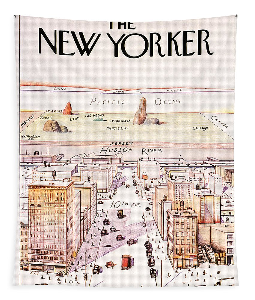 The New Yorker Tapestry featuring the mixed media The New Yorker - Magazine Cover - Vintage Art Nouveau Poster by Studio Grafiikka
