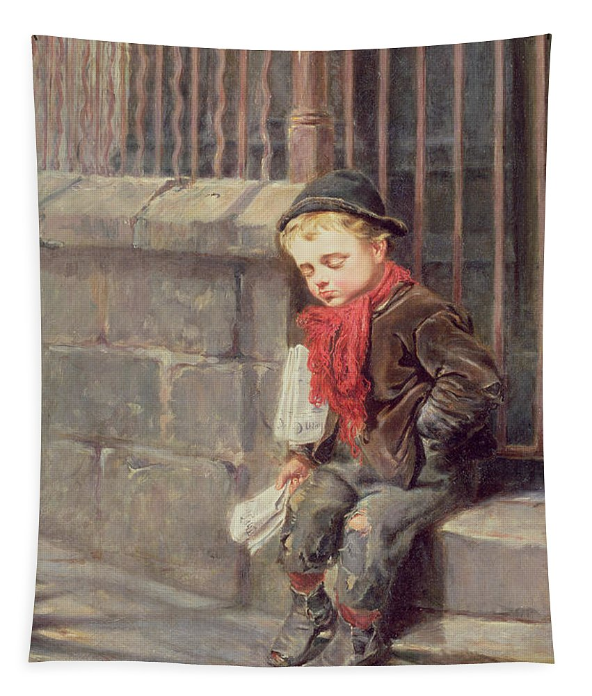 The Tapestry featuring the painting The News Boy by Ralph Hedley