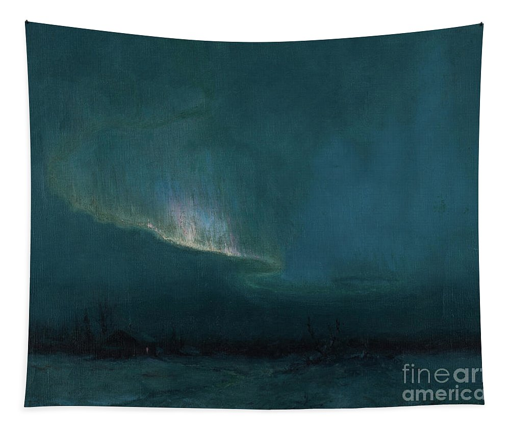 Aurora Borealis Tapestry featuring the painting The Northern Lights, 1926 by Sydney Laurence