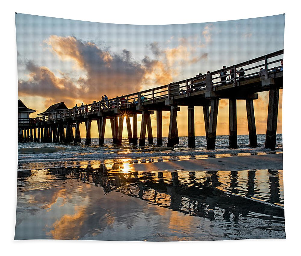 Naples Tapestry featuring the photograph Naples Pier At Sunset Naples Florida Ripples by Toby McGuire