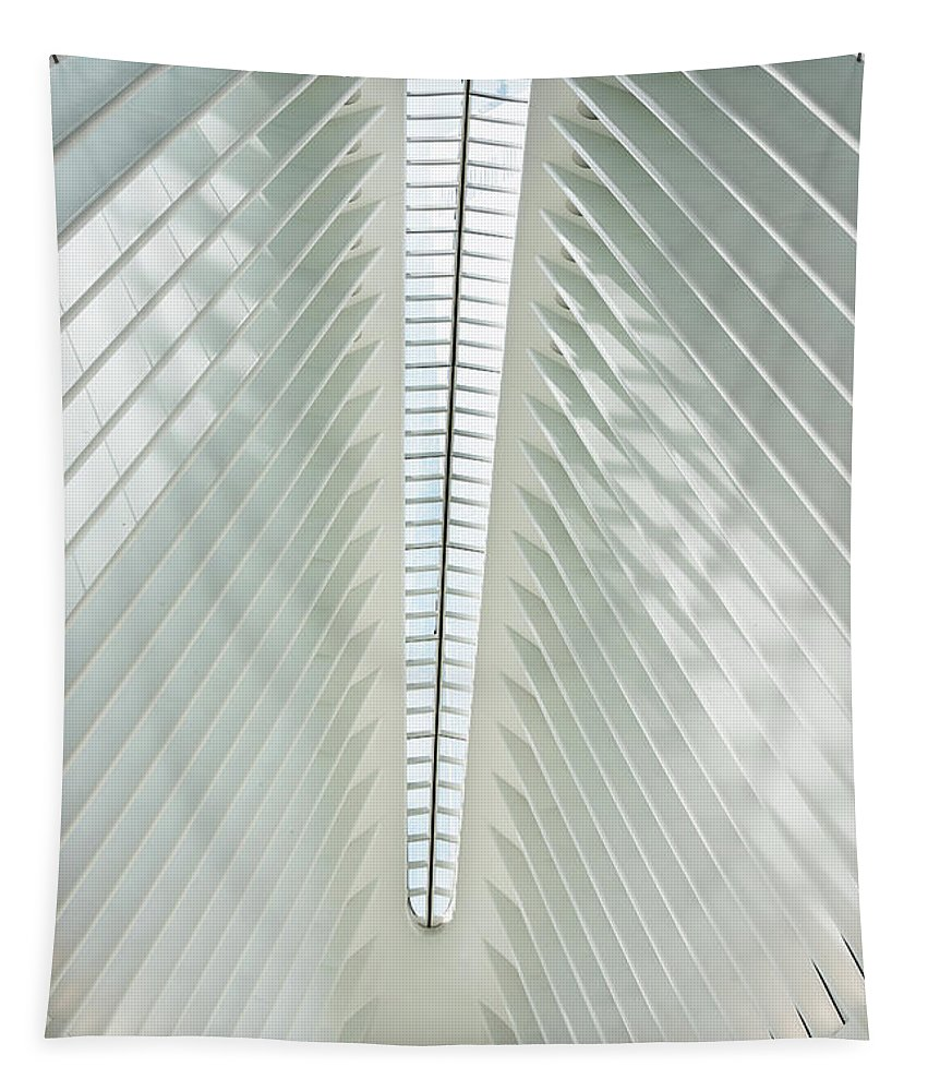 The Oculus Tapestry featuring the photograph The Oculus Interior Platform by Robert VanDerWal