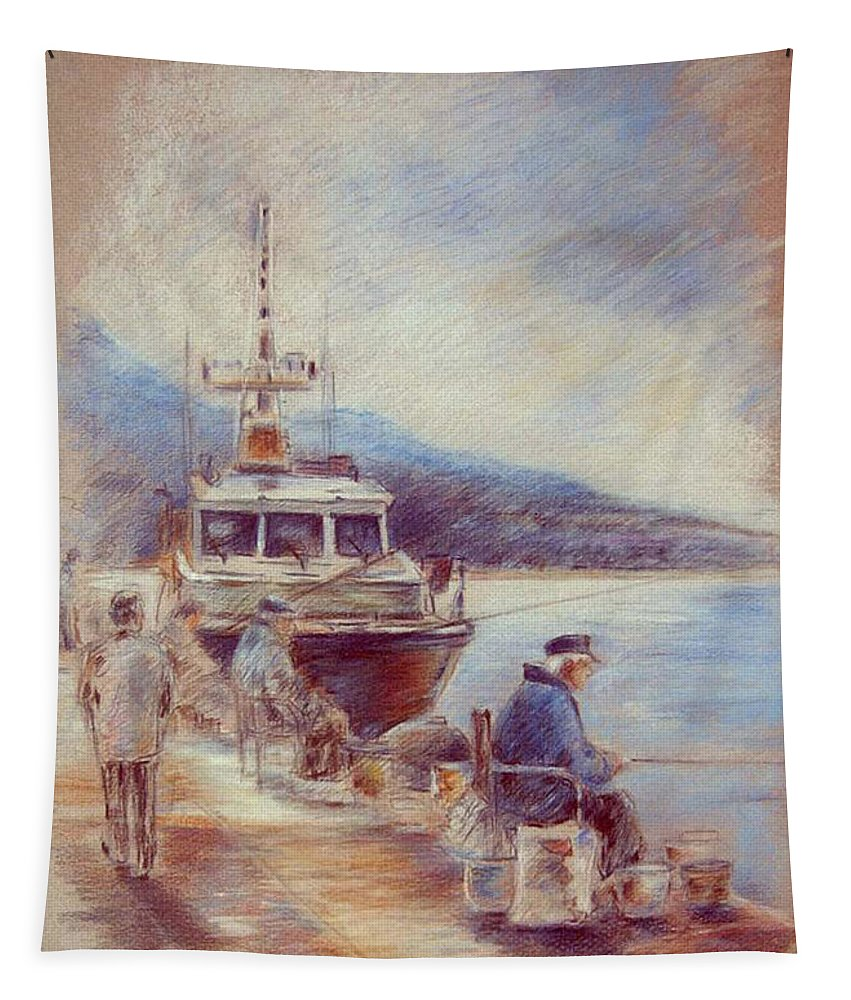 Altea Painting Tapestry featuring the painting The Old Man And The Sea 01 by Miki De Goodaboom