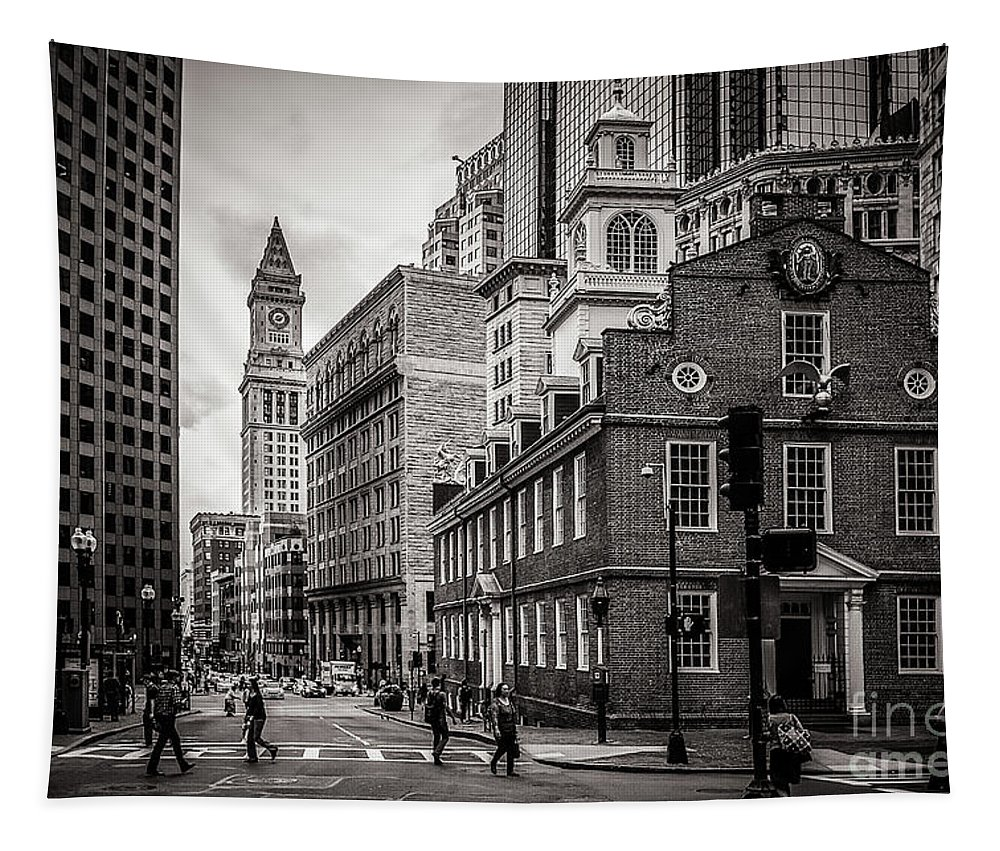 Boston Tapestry featuring the photograph The Old State House by Mirko Chianucci