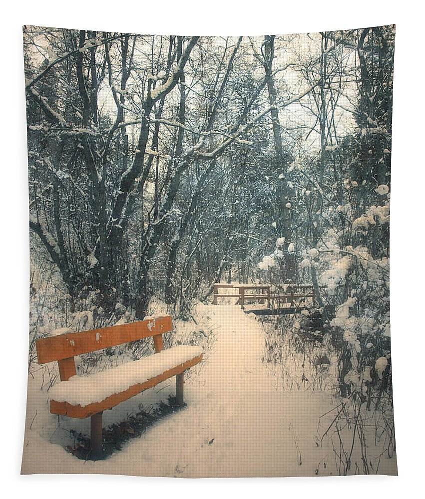 Trail Tapestry featuring the photograph The Orange Bench by Tara Turner