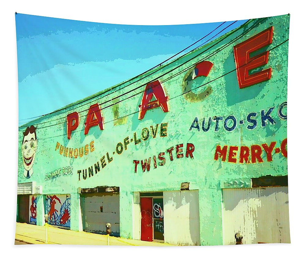 The Palace Tapestry featuring the mixed media The Palace At Asbury Park by Dominic Piperata