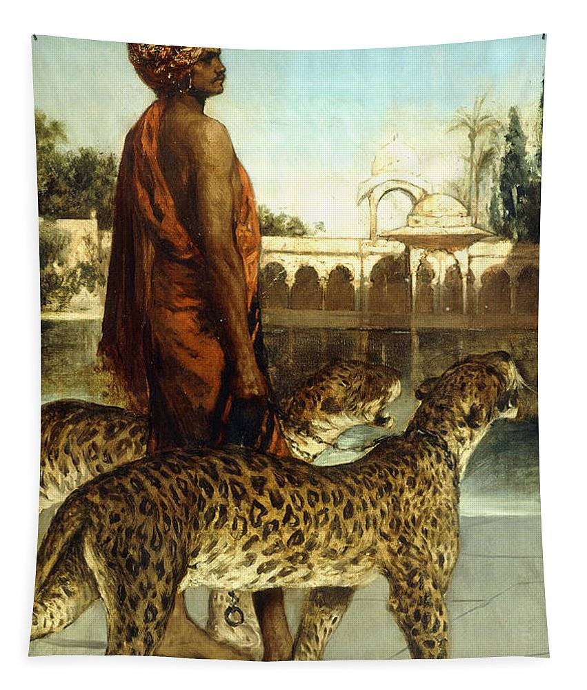 Leopards Tapestry featuring the painting The Palace Guard With Two Leopards by Jean Joseph Benjamin Constant
