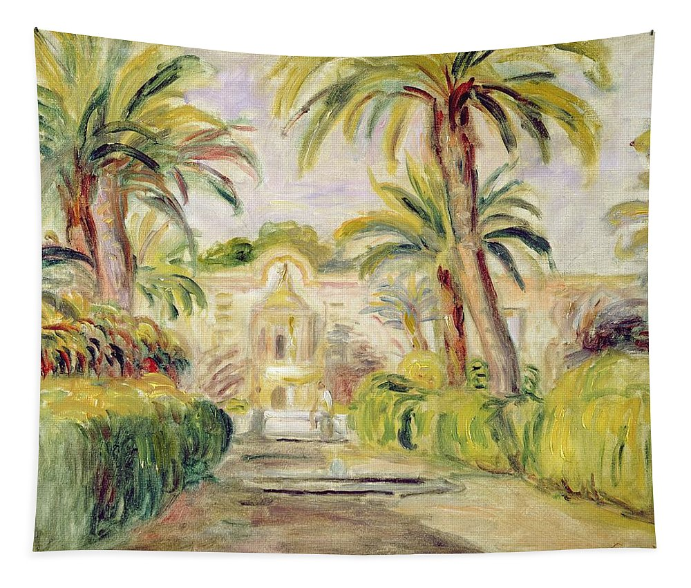 The Palm Trees Tapestry featuring the painting The Palm Trees by Pierre Auguste Renoir