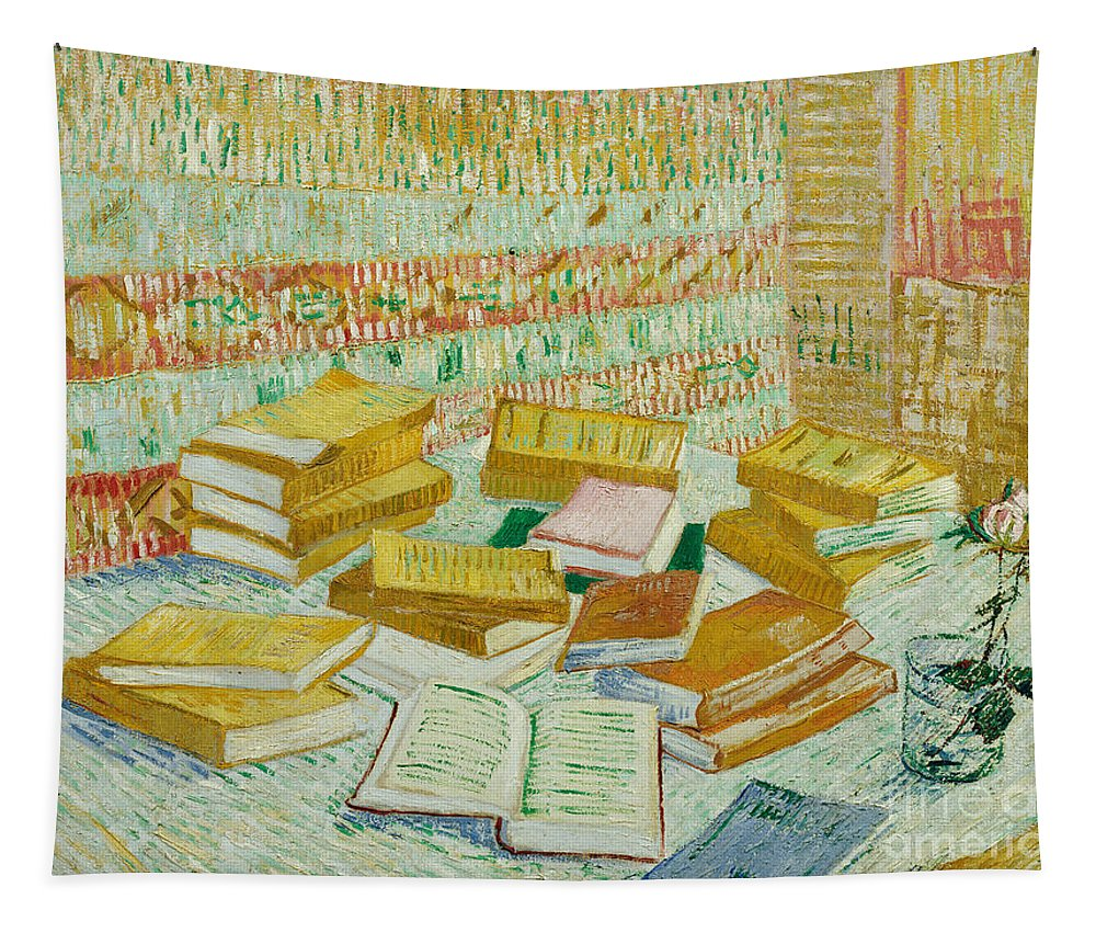 Book Tapestry featuring the painting The Parisian Novels Or The Yellow Books by Vincent Van Gogh