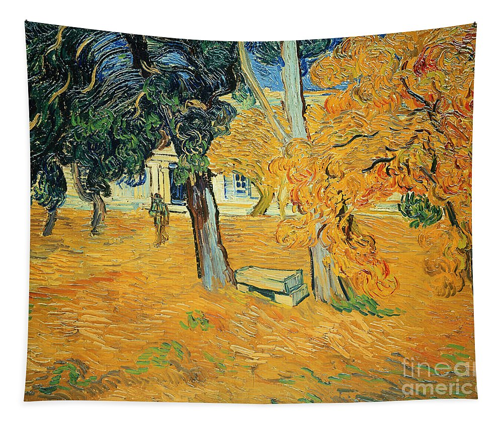 The Tapestry featuring the painting The Park At Saint Pauls Hospital Saint Remy by Vincent van Gogh