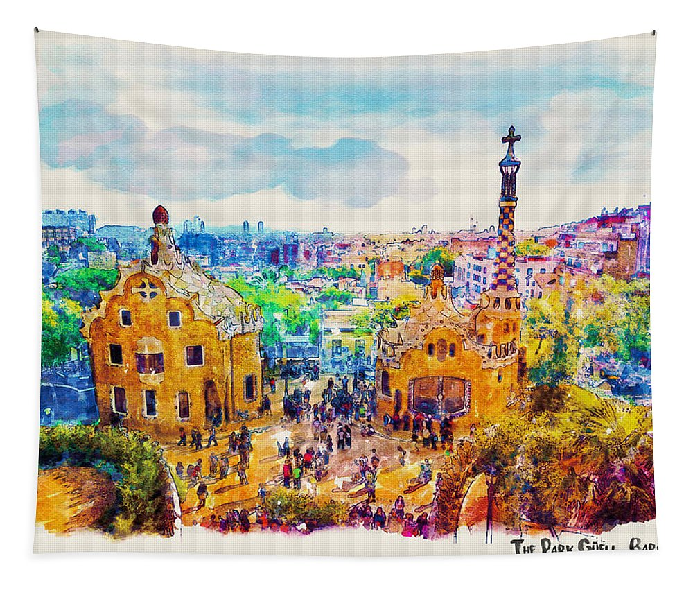Park Guell Tapestry featuring the painting Park Guell Barcelona by Marian Voicu