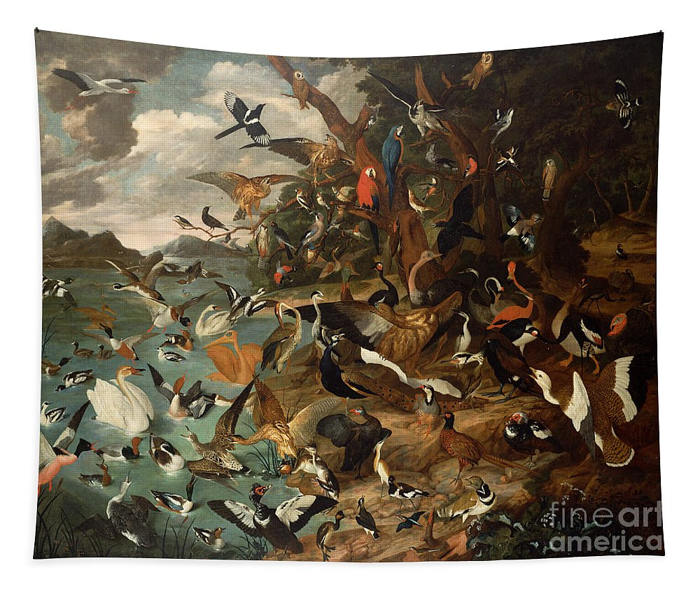 The Tapestry featuring the painting The Parliament Of Birds by Carl Wilhelm de Hamilton