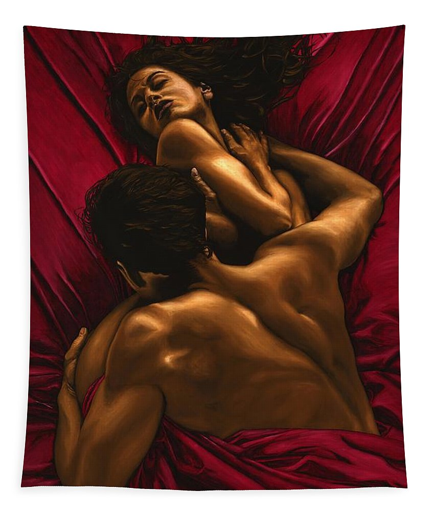 Nude Tapestry featuring the painting The Passion by Richard Young