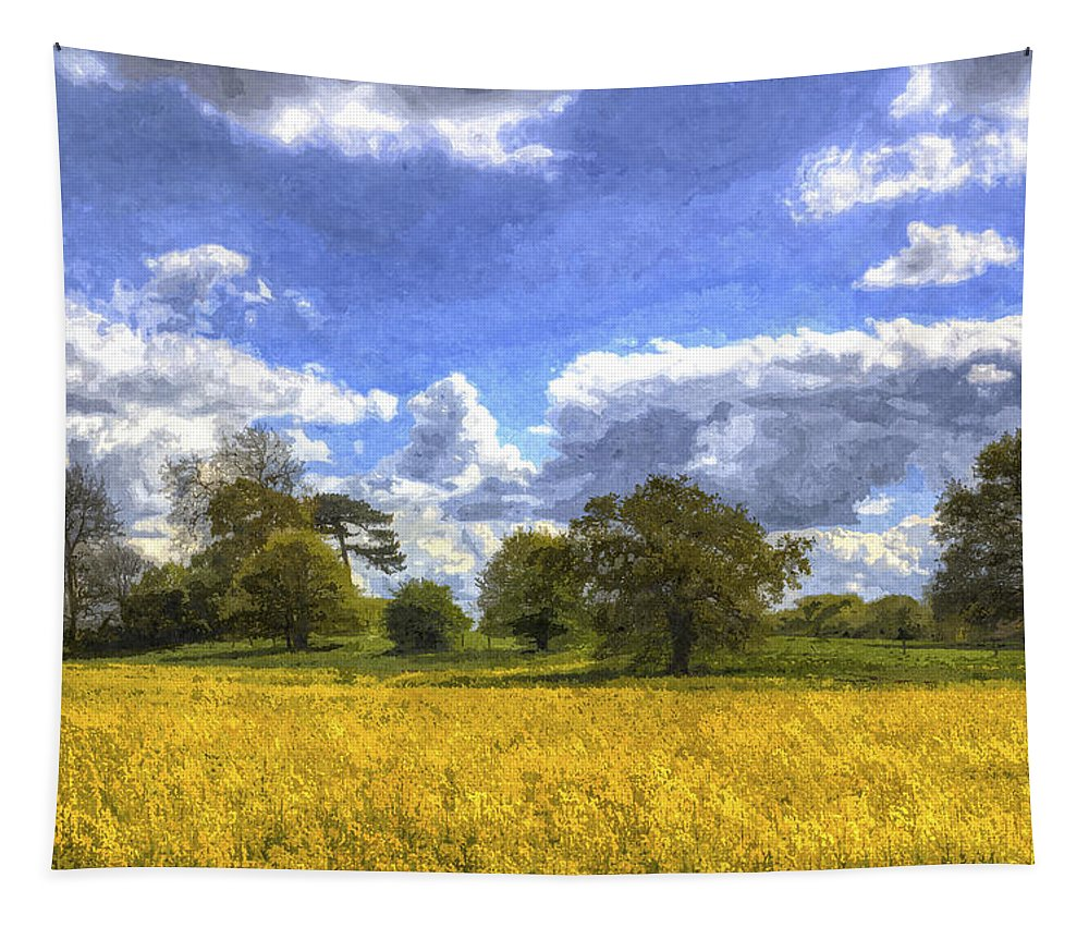 Oil Seed Rape Tapestry featuring the photograph The Peaceful Farm Art by David Pyatt