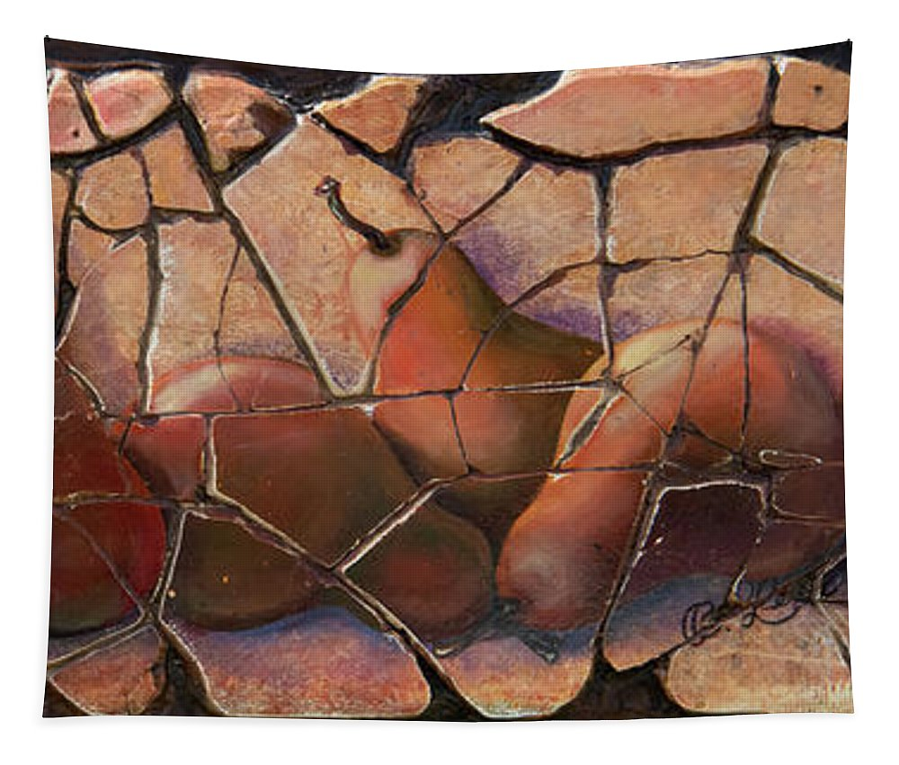 Olena Art Tapestry featuring the digital art The Pears Fresco With A Crackle Finish by OLena Art Brand