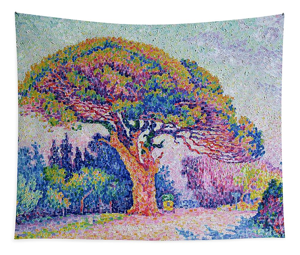 The Pine Tree At St. Tropez Tapestry featuring the painting The Pine Tree At Saint Tropez by Paul Signac