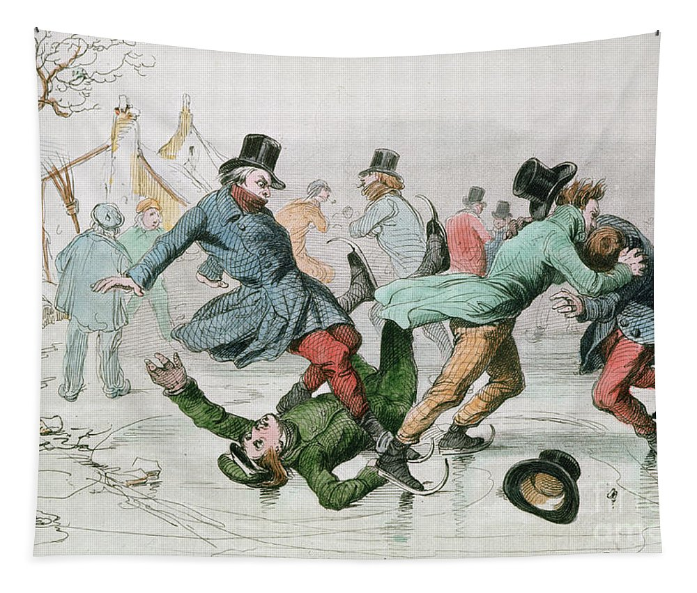 Skater Tapestry featuring the painting The Pleasures Of Winter by Victor Adam