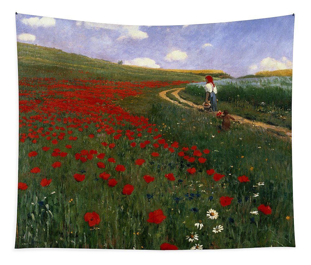 The Poppy Field By Pal Szinyei Merse (1845-1920) Tapestry featuring the painting The Poppy Field by Pal Szinyei Merse