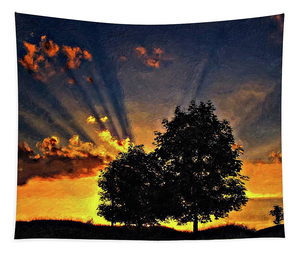 Sunset Tapestry featuring the photograph The Promise Impasto Paint by Steve Harrington