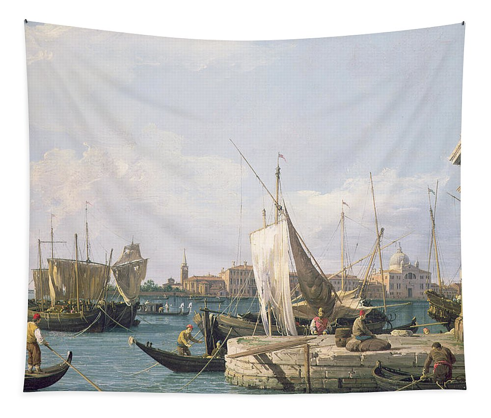 Canals Tapestry featuring the painting The Punta Della Dogana by Canaletto