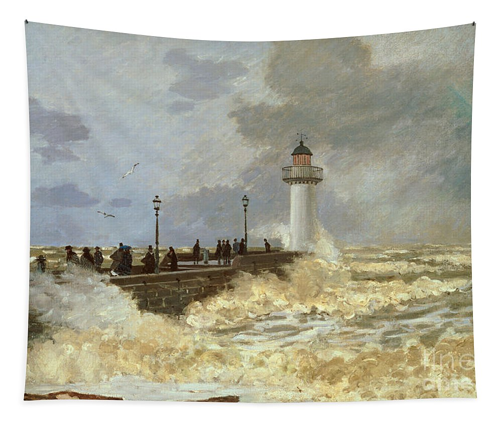 The Quay At Le Havre Tapestry featuring the painting The Quay At Le Havre by Claude Monet