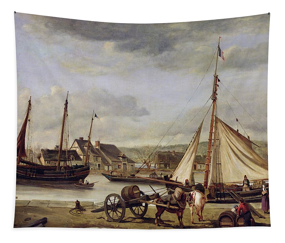 Merchant Tapestry featuring the painting The Quay At Rouen by Jean Baptiste Camille Corot