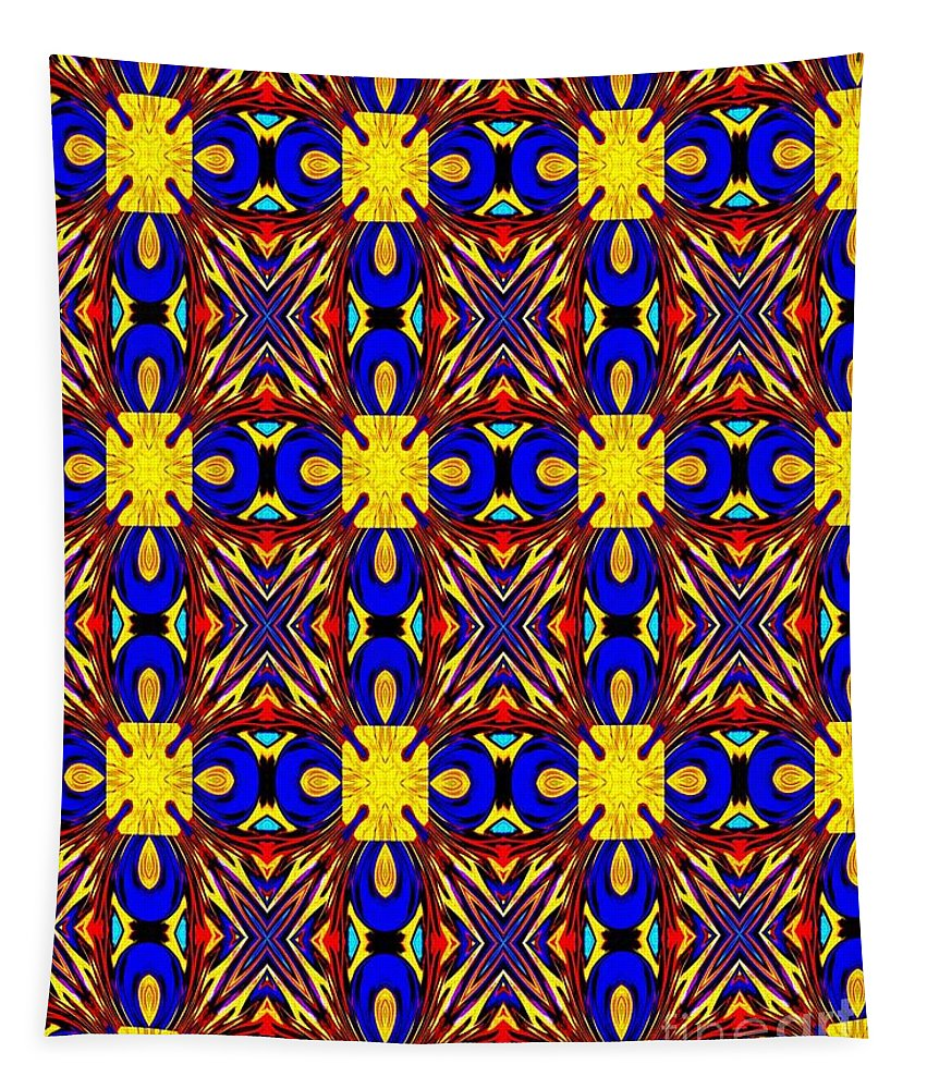 Blue Tapestry featuring the digital art The Quilting Party by Debra Lynch