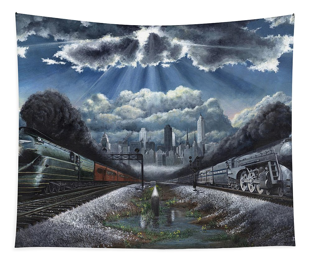 Trains Tapestry featuring the painting The Race by David Mittner