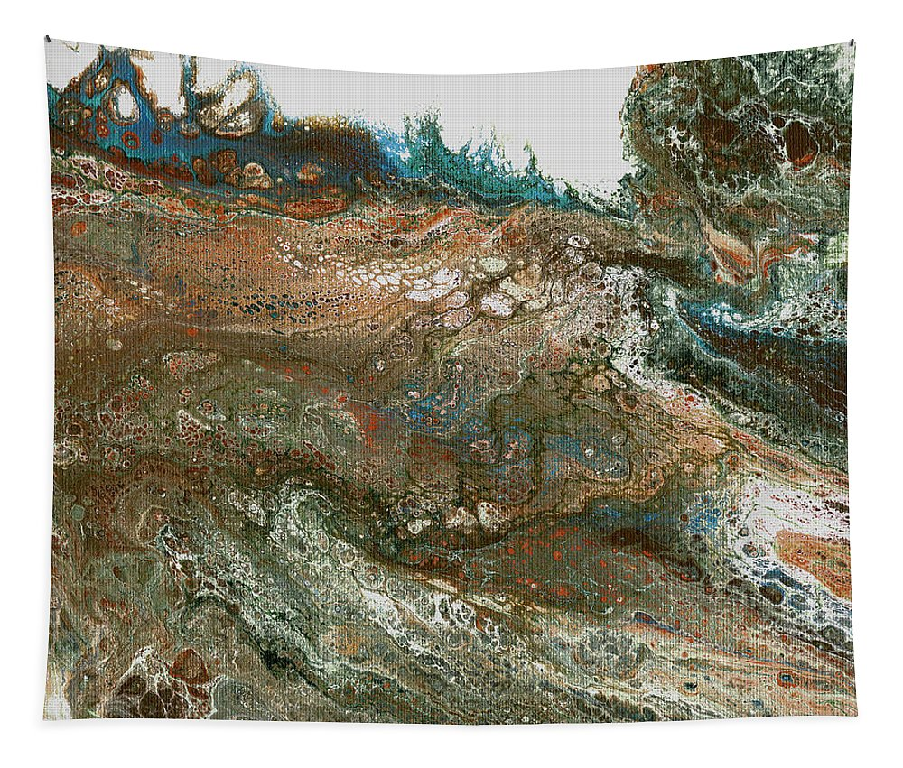 Abstract Tapestry featuring the mixed media The Raging River-acrylic Pour#8 by Richard Ortolano