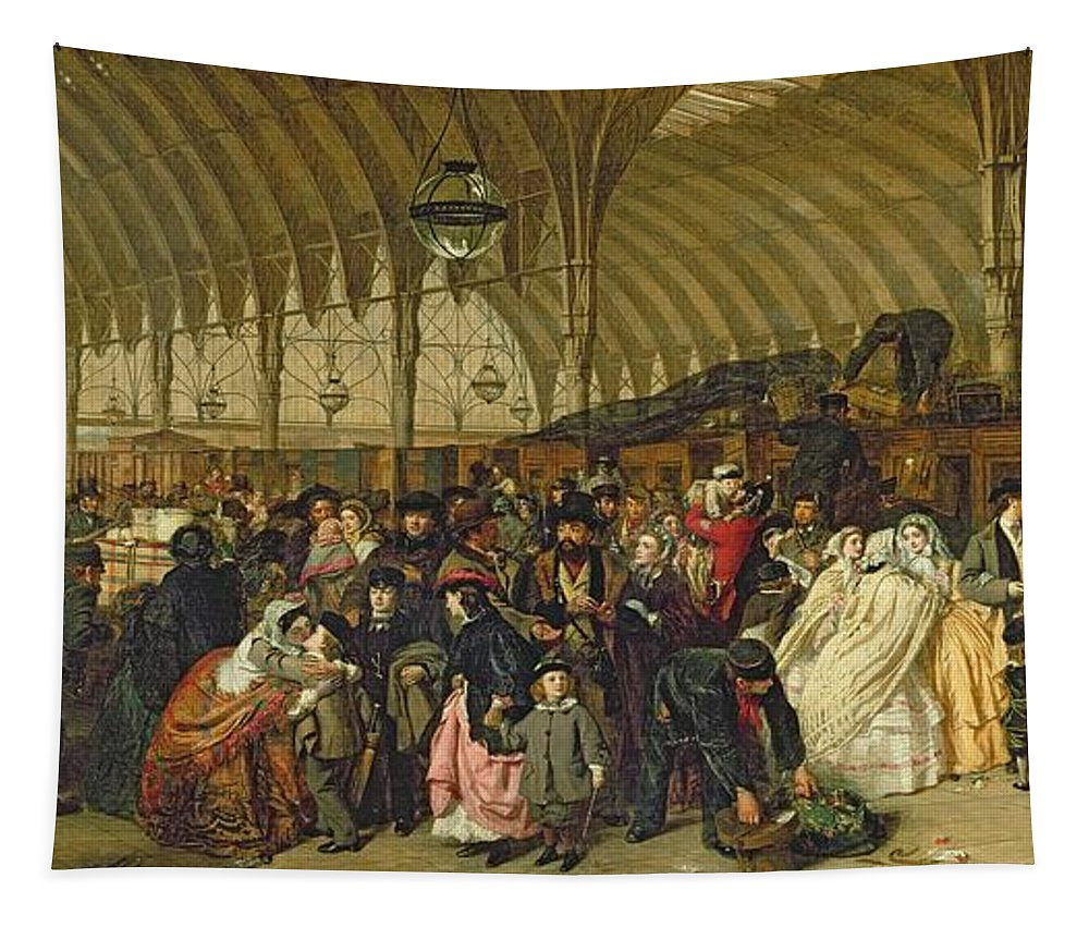 The Railway Station Tapestry featuring the painting The Railway Station by William Powell Frith