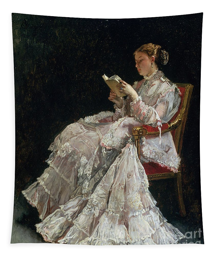 Woman Reading Tapestry featuring the painting The Reader by Alfred Emile Stevens