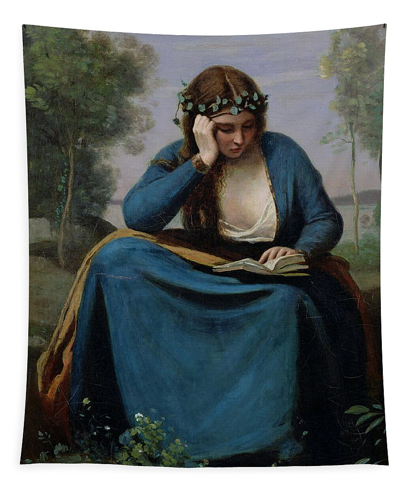 The Reader Crowned With Flowers Tapestry featuring the painting The Reader Crowned With Flowers by Jean Baptiste Camille Corot