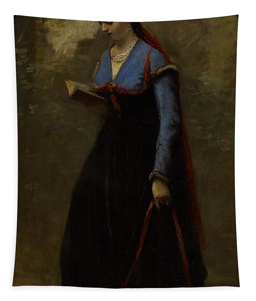 Corot Tapestry featuring the painting The Reader by Jean Baptiste Camille Corot