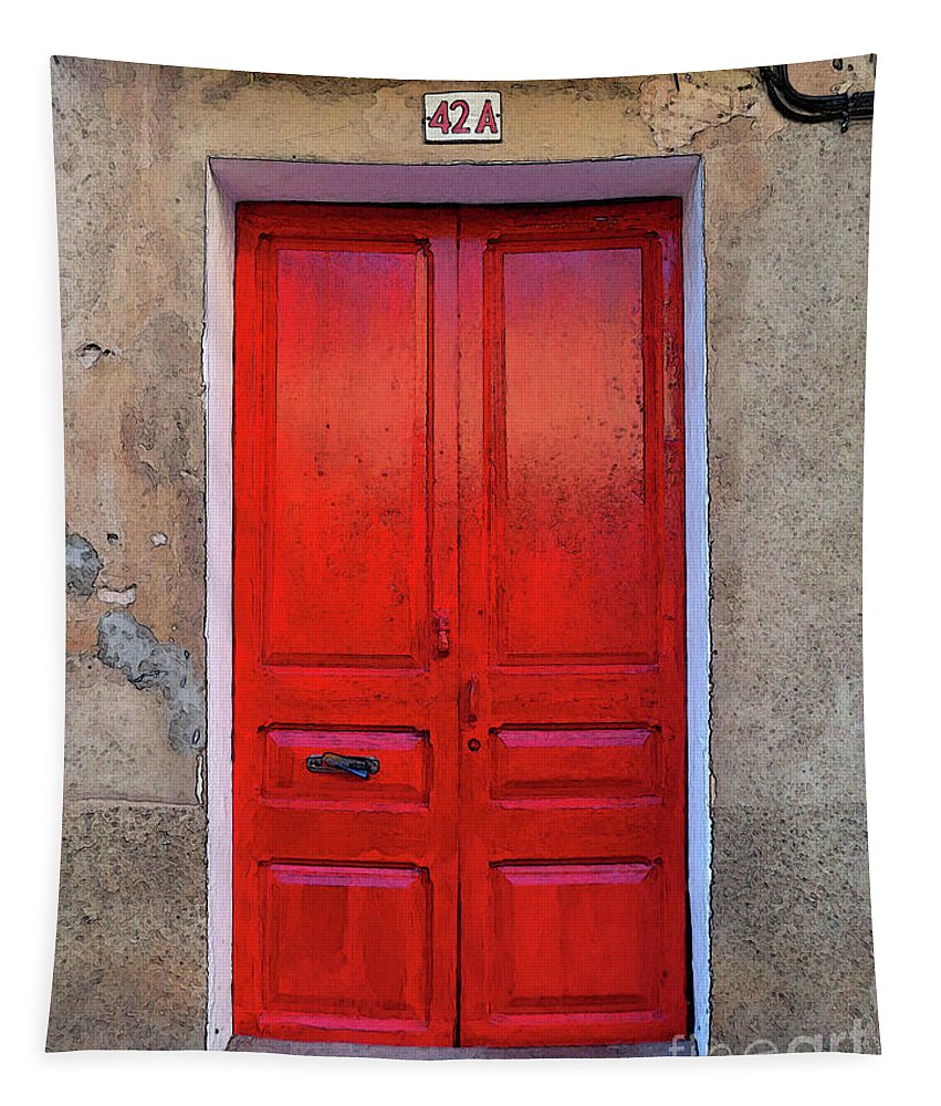 Architecture Tapestry featuring the photograph The Red Door. by Don Pedro DE GRACIA