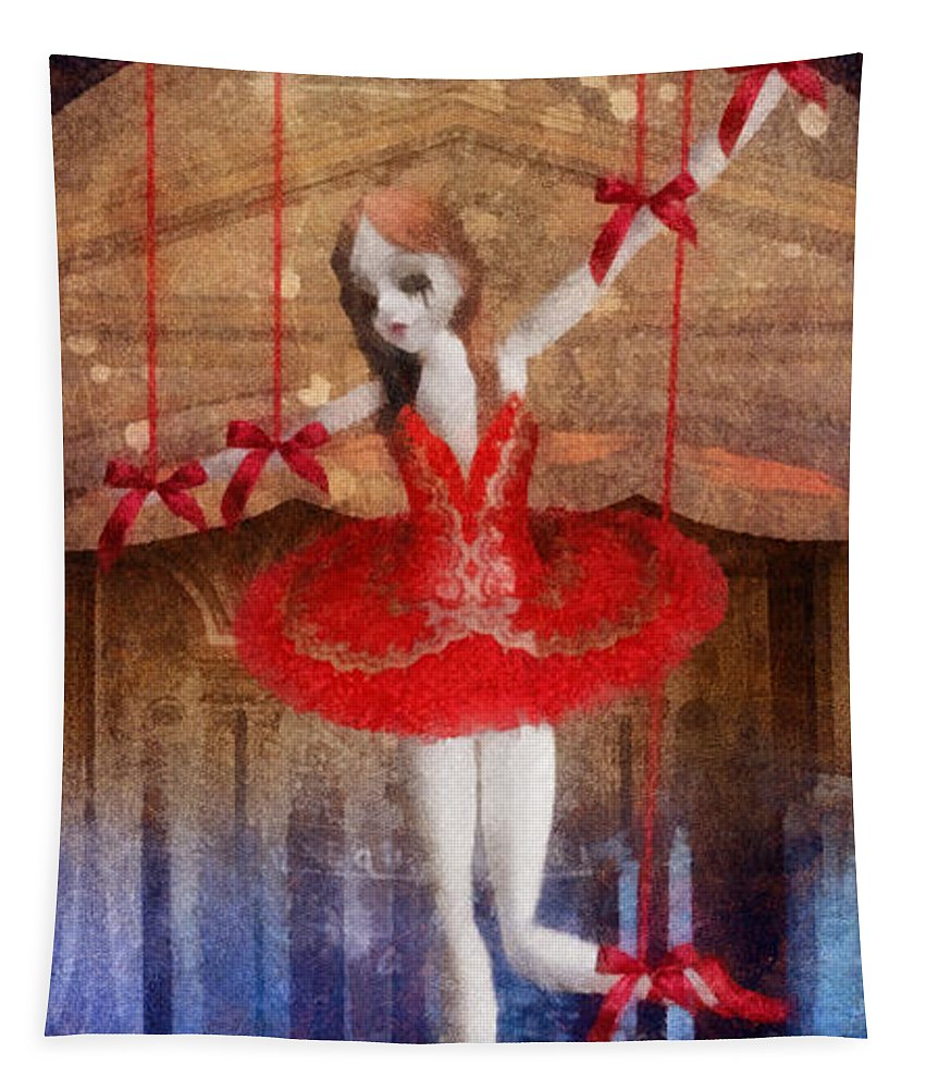 The Red Shoes Tapestry featuring the painting The Red Shoes by Mo T