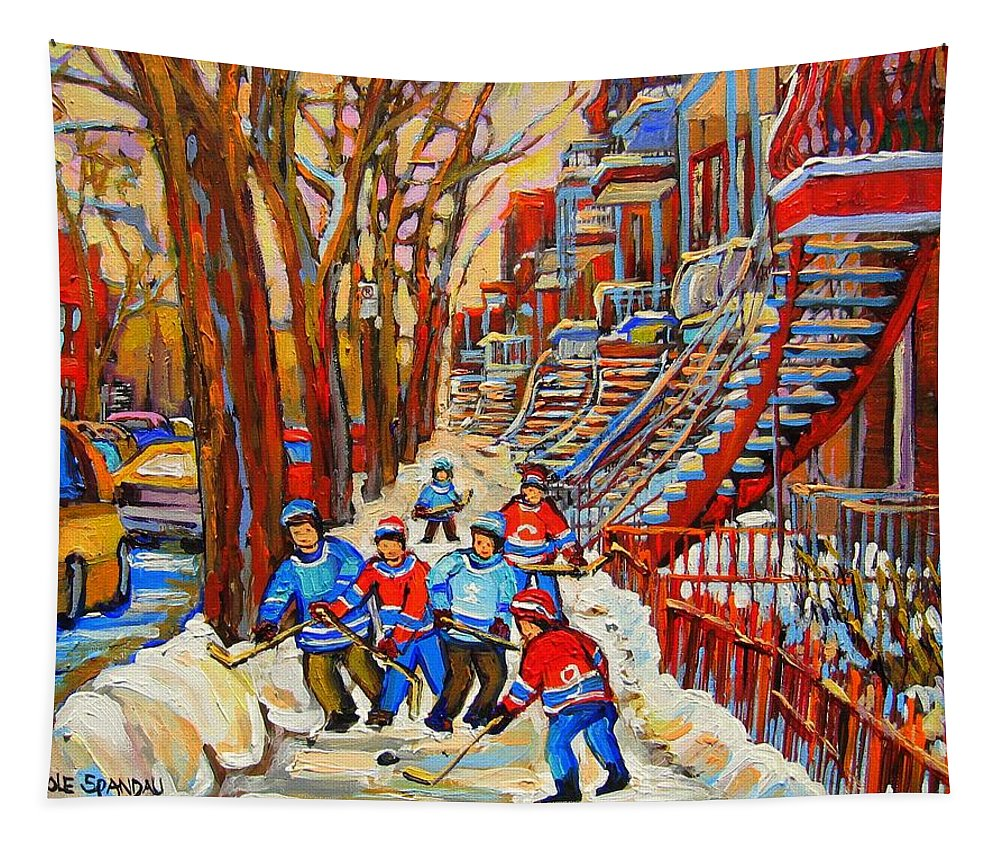 Tapestry featuring the painting The Red Staircase Painting By Montreal Streetscene Artist Carole Spandau by Carole Spandau