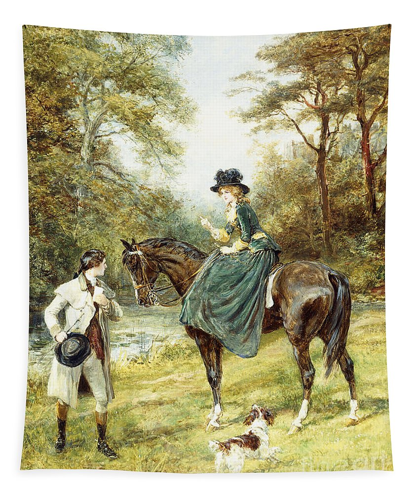 Valentines Day Tapestry featuring the painting The Rendezvous by Heywood Hardy