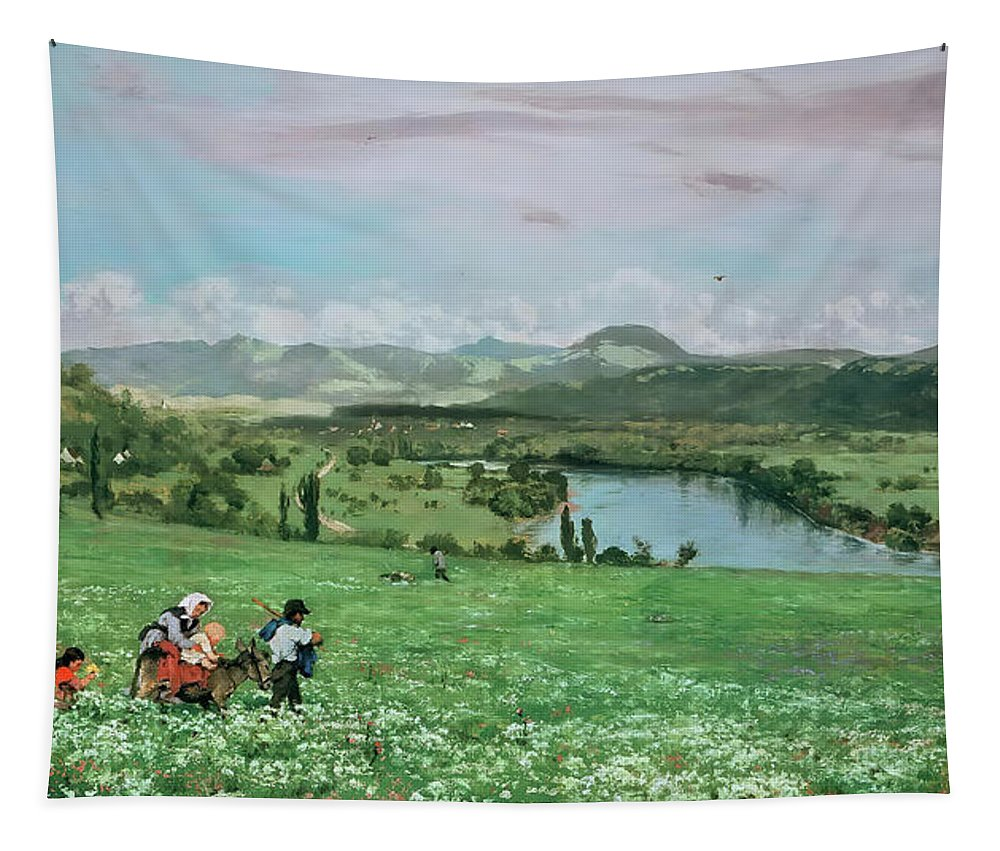 Painting Tapestry featuring the painting The Rhine Near Sakingen by Mountain Dreams