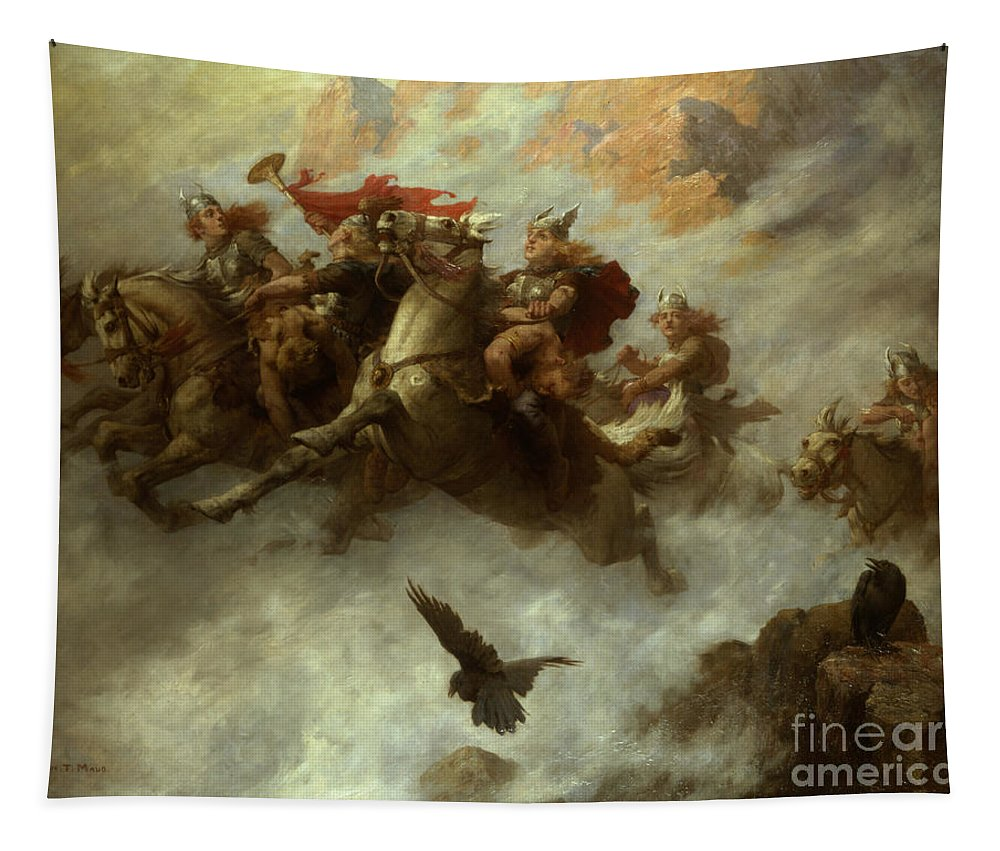 The Tapestry featuring the painting The Ride Of The Valkyries by William T Maud