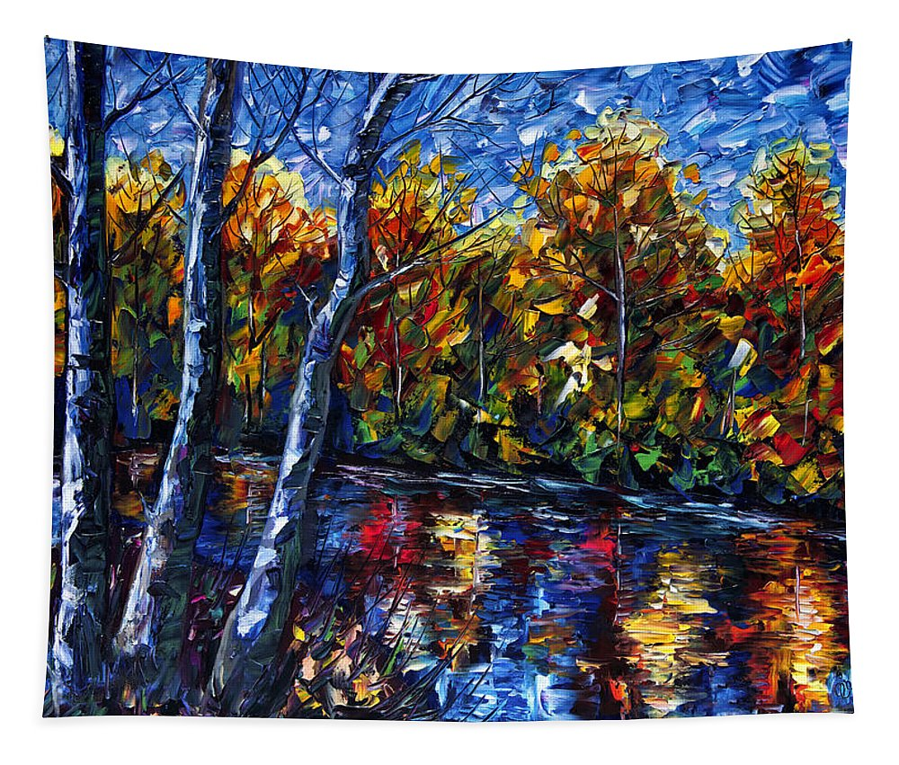 Impasto Tapestry featuring the painting The River Song by OLena Art Brand