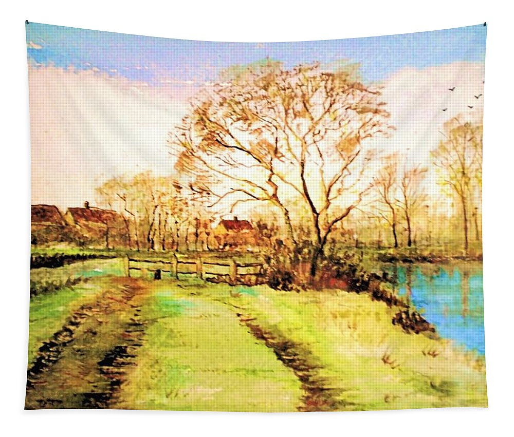 Landscape Tapestry featuring the painting The Rookery By V.kelly by Valerie Anne Kelly