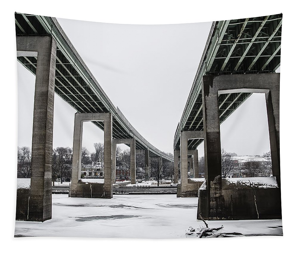 Roosevelt Tapestry featuring the photograph The Roosevelt Expressway Bridges by Bill Cannon