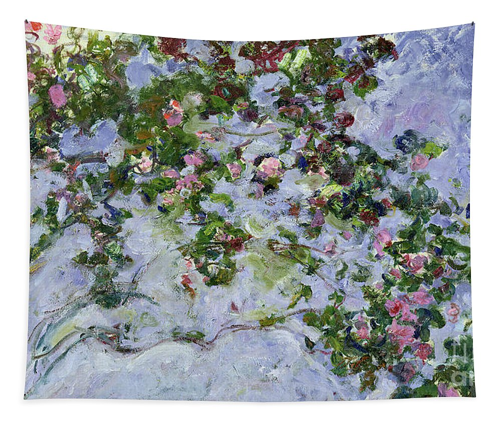 The Roses Tapestry featuring the painting The Roses by Claude Monet