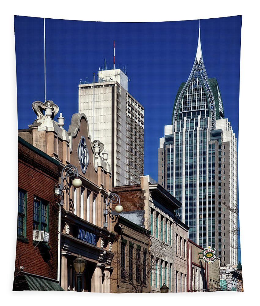 Mobile Tapestry featuring the photograph The Rsa Tower - Mobile Alabama by Mountain Dreams