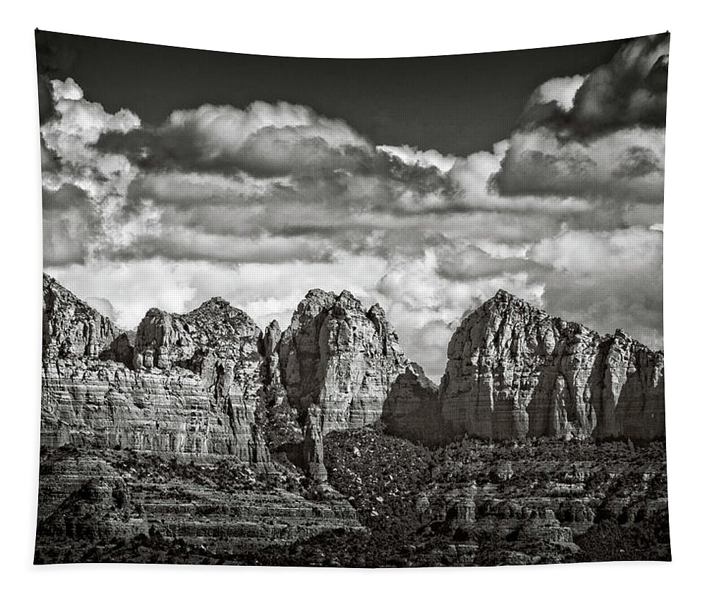 Arizona Tapestry featuring the photograph The Rugged Red Rocks In Black And White by Saija Lehtonen