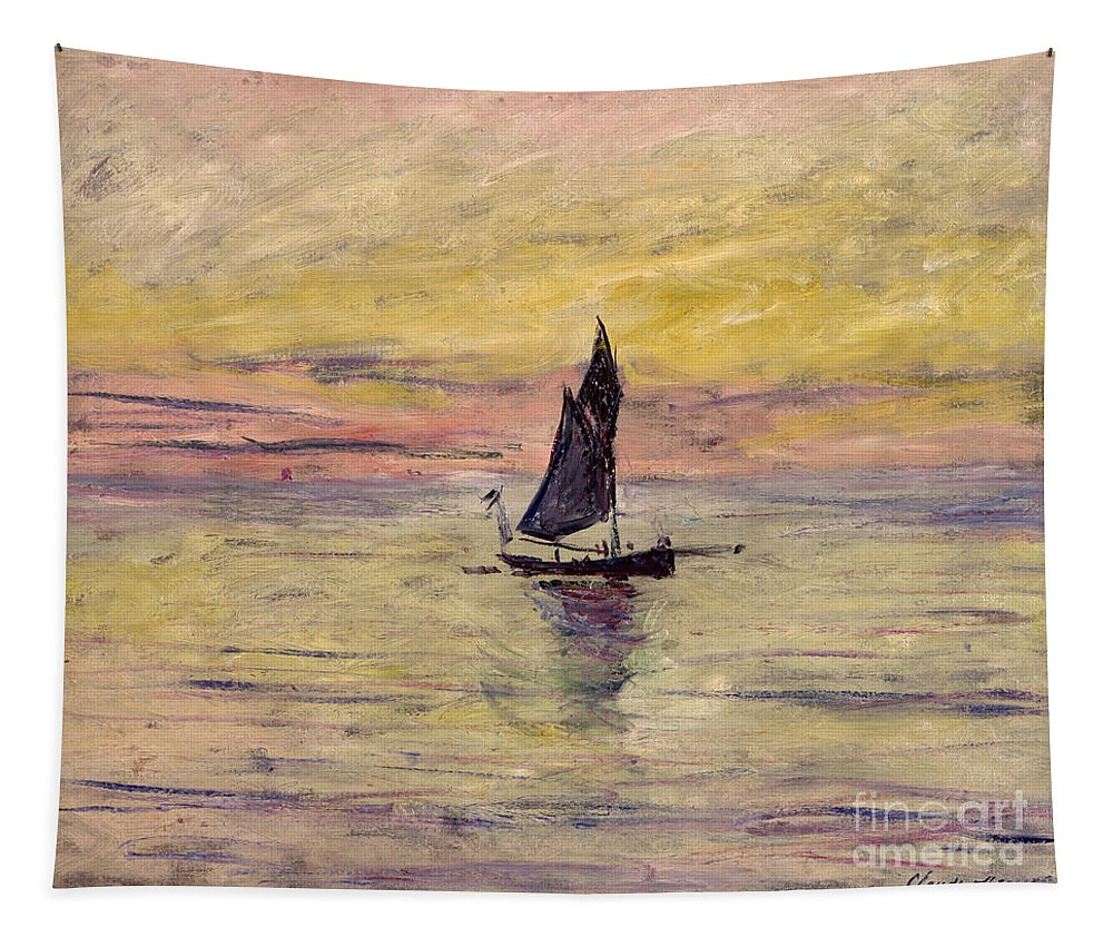 French Tapestry featuring the painting The Sailing Boat Evening Effect by Claude Monet
