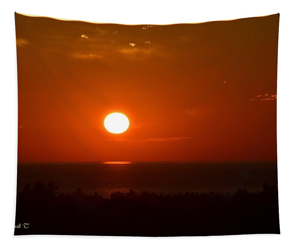Saugatuck Sunset Tapestry featuring the photograph The Saugatuck Sunset by Sonali Gangane