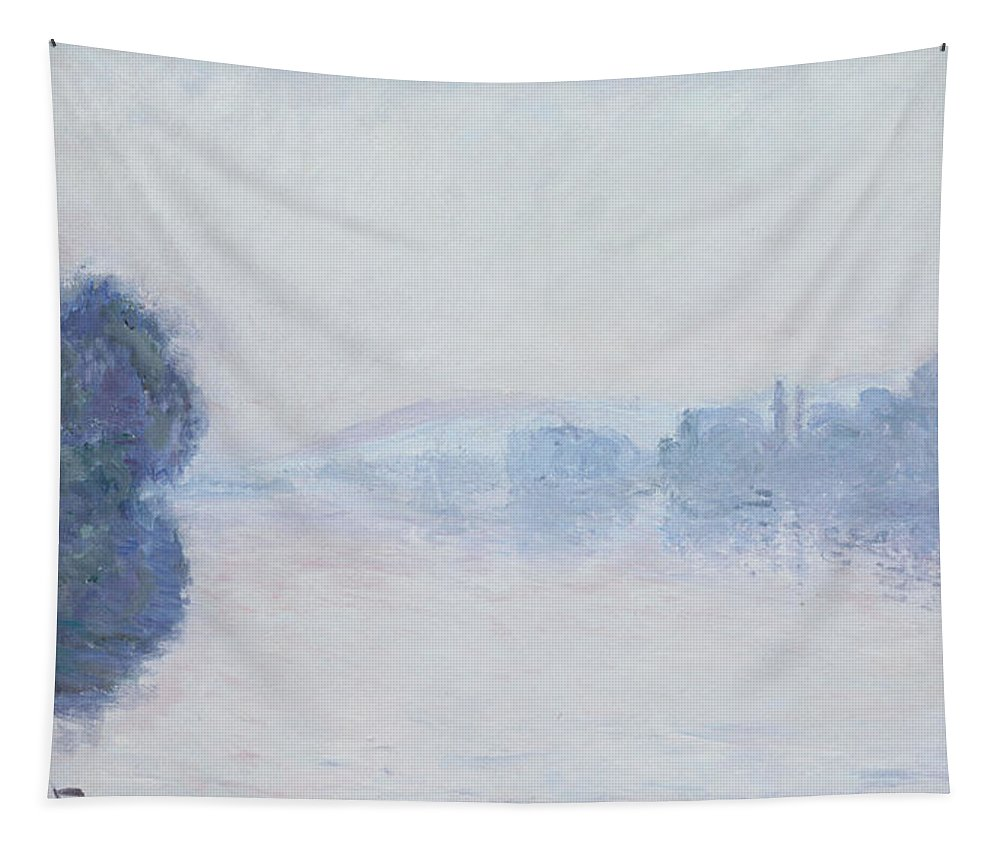 Impressionism; Impressionist; Landscape; River; Dawn; Mist; Reflection; Tree; River Tapestry featuring the painting The Seine Near Vernon by Claude Monet